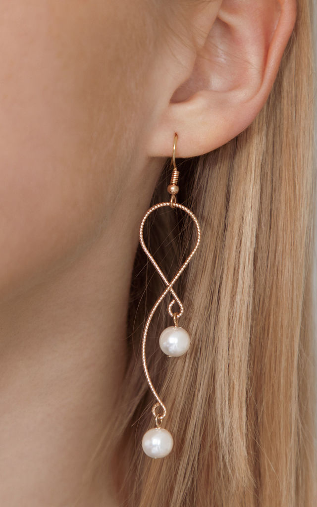 Gold Pearl Drop Snake chain Earrings by Always Chic