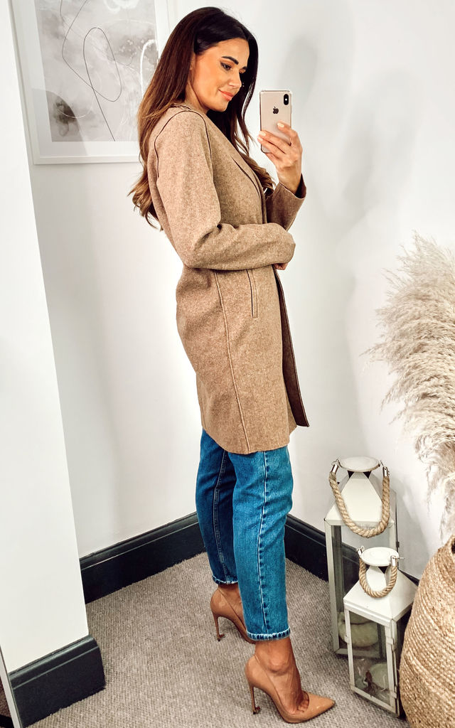 Tailored Coat in Brown by ONLY