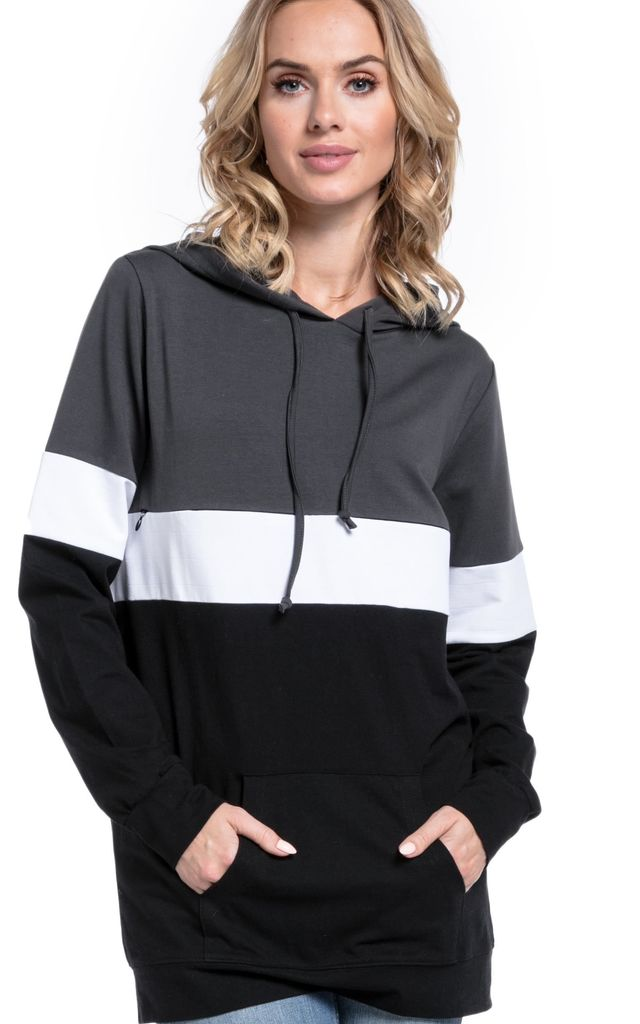 Women's Nursing Hoodie Breastfeeding Colour Block Maternity Graphite & Off White & Black by Chelsea Clark