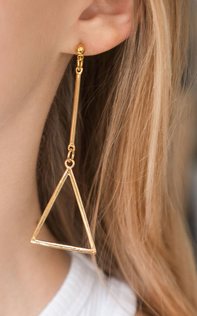 Long Gold Triangle Drop Pendant Earrings by Always Chic