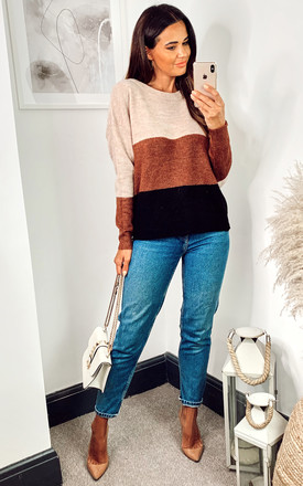Colour Block Jumper in Beige, Brown and Black by JDY