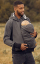 Men's Kangaroo Hoodie Dad and Baby Carrier Coat Holder Pullover Graphite by Chelsea Clark