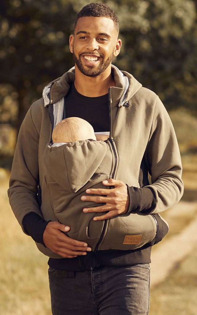 Men's Kangaroo Hoodie Dad and Baby Carrier Coat Holder Pullover Khaki by Chelsea Clark