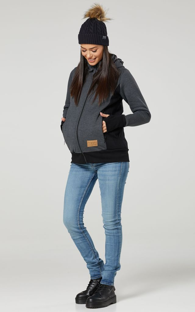 Women's Maternity 3 in 1 Hoodie Carrier Baby Holder Pullover Graphite by Chelsea Clark