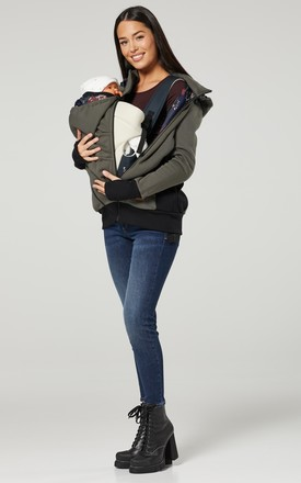 Women's Maternity 3 in 1 Hoodie Carrier Baby Holder Pullover Khaki by Chelsea Clark