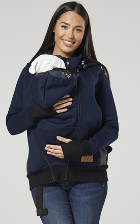 Women's Maternity 3 in 1 Hoodie Carrier Baby Holder Pullover Navy by Chelsea Clark