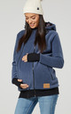 Women's Maternity Hoodie Zipped Carrier Baby Holder Pullover. Colour: Blue Jeans by Chelsea Clark