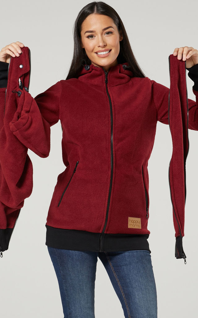 Women's Maternity Hoodie Zipped Carrier Baby Holder Pullover. Colour: Crimson by Chelsea Clark