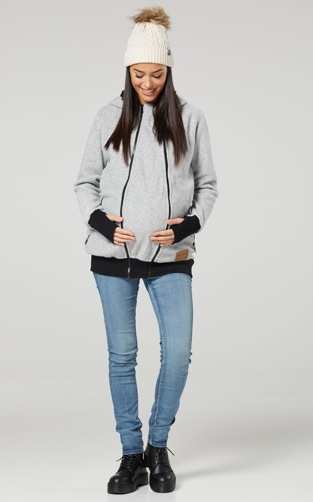 Women's Maternity Hoodie Zipped Carrier Baby Holder Pullover. Colour: Grey Melange by Chelsea Clark