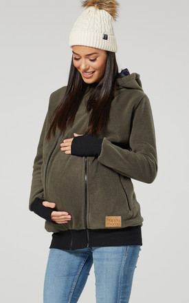 Women's Maternity Hoodie Zipped Carrier Baby Holder Pullover. Colour: Khaki by Chelsea Clark