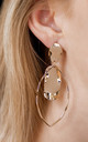 Large Gold Leaf and Disc Drop Earrings by Always Chic