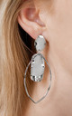 Large Silver Leaf and Disc Drop Earrings by Always Chic
