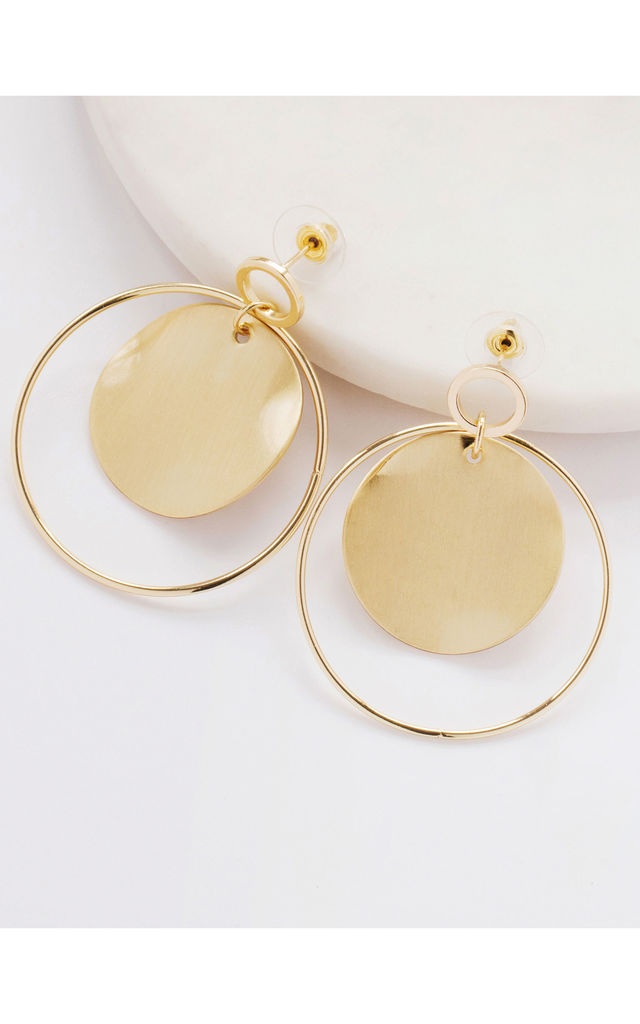 Gold Hoop and Disc Drop Earrings by Always Chic