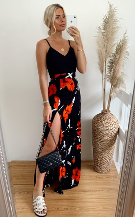 Farah Floral Cami Split Maxi Dress Black / Orange by Girl In Mind Product photo