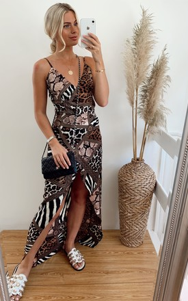 Mia Wrap Maxi Dress Brown Print by Girl In Mind Product photo