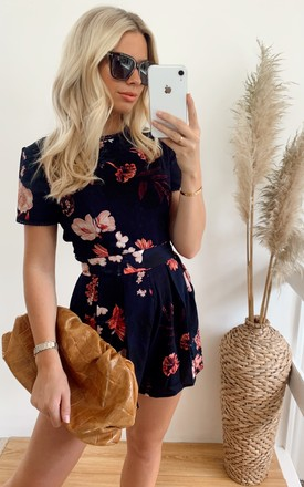 Gabby Trim Detail Floral Playsuit Navy by Girl In Mind Product photo