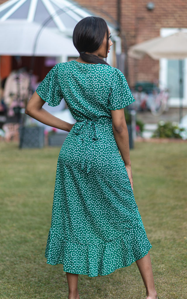 ERINA GREEN FLORAL WRAP MIDI DRESS by IVY EKONG FASHION