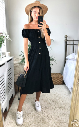 Exclusive Bardot Midi Dress In Black by KURT MULLER Product photo
