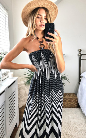 ZigZag Print Halter Neck Maxi Dress In Black and White by KURT MULLER