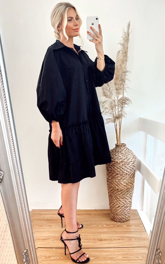 Oversized Cotton frilled hem dress in black by CY Boutique