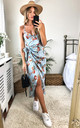 Tie Side Wrap Silky Dress in Light Blue Floral by Another Look