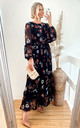 Long Sleeve Maxi Dress with Waist Tie in Black Floral Print by CY Boutique