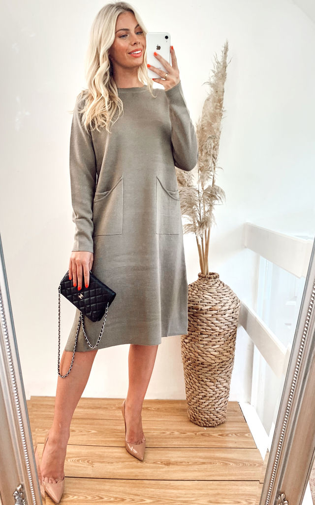 Oversized Tunic Jumper Dress in Beige by CY Boutique