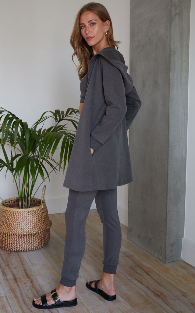 Dark Grey Soft Touch Three Piece Crop Top, Jogging Bottom and Cardigan Set by Hey You London