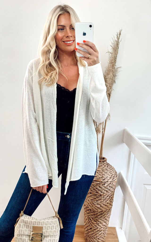 Long Sleeve Knitted Cardigan with Chiffon Hem in White by CY Boutique