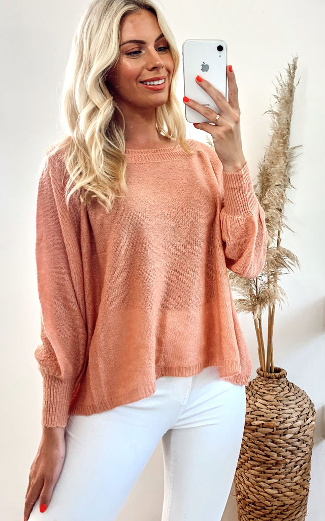 Knitted Jumper with Balloon sleeves in Orange/Pink by CY Boutique