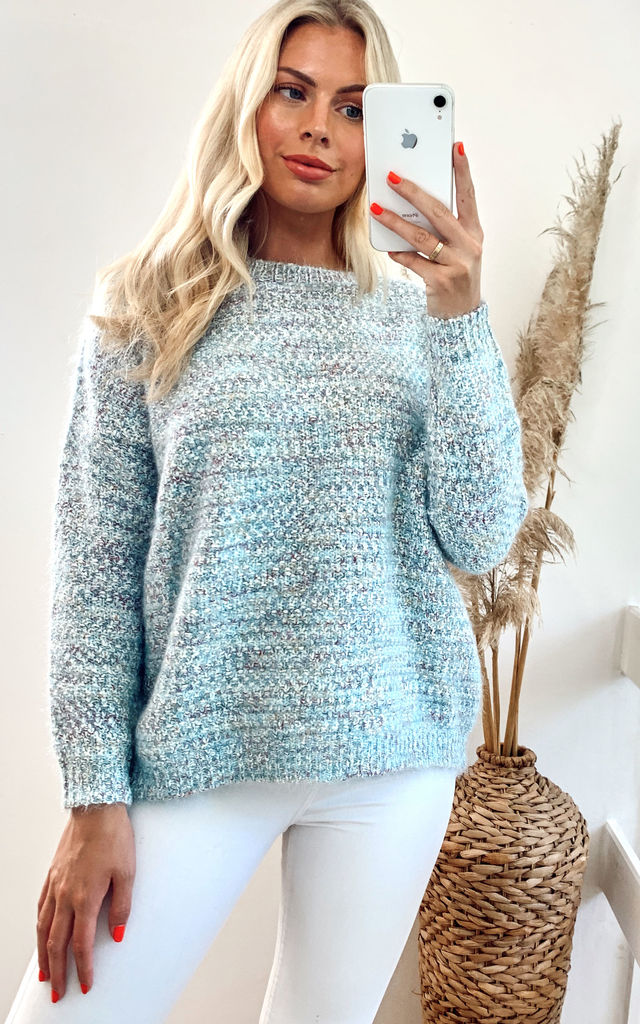 Long Sleeve Round Neck Knitted Jumper in Blue by CY Boutique
