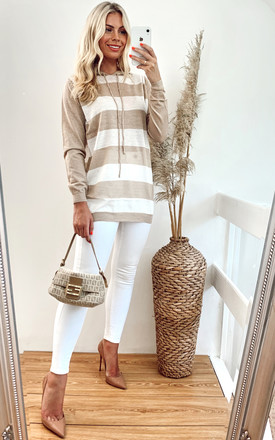 Striped Hoodie with Drawstrings in Light Brown/White by CY Boutique