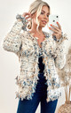 Knitted Long Sleeve Jacket in Cream Tweed Effect by CY Boutique