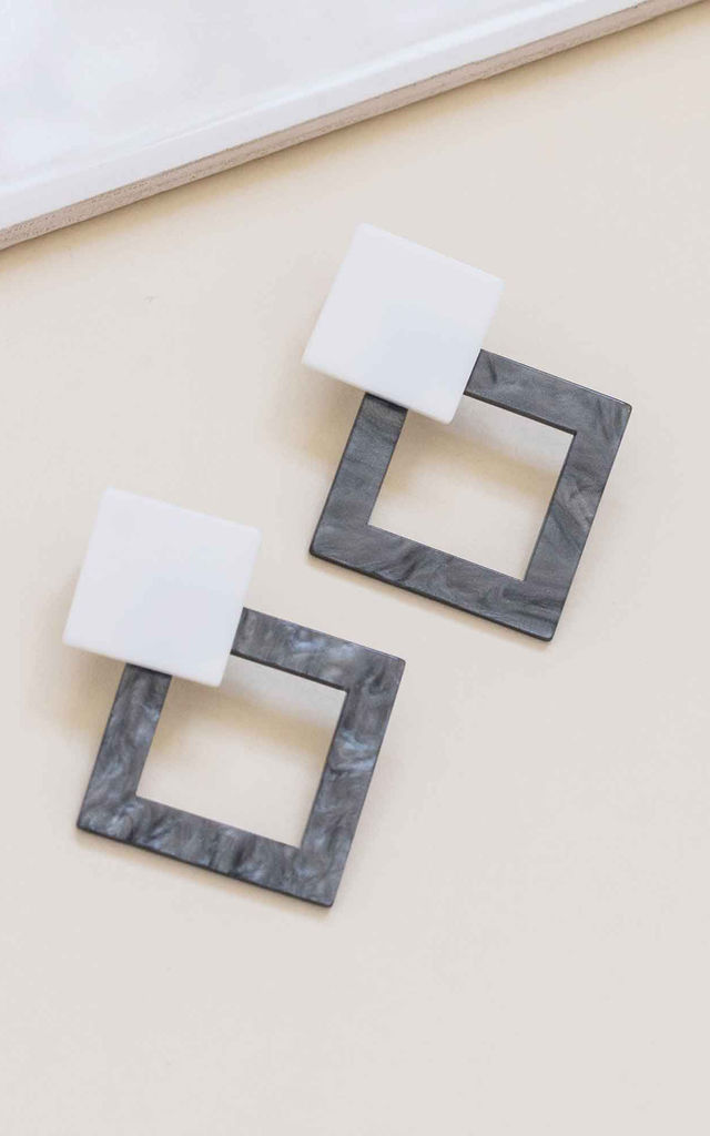 Grey and White Geometric Square Drop Earrings by Always Chic