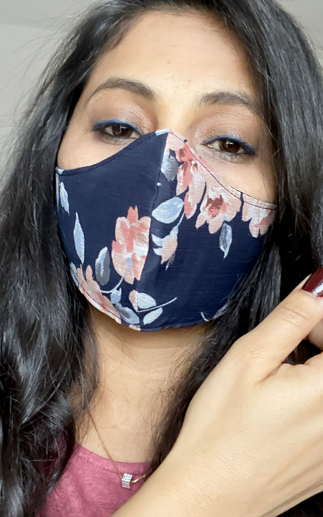 Face Mask Three Layers Reusable Pack of Two Flower Print & Pink Satin by FreeSpirits
