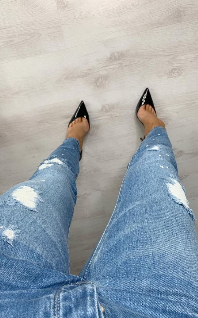 Charlotte Distressed Straight Leg Jeans in Stonewash by IKRUSH