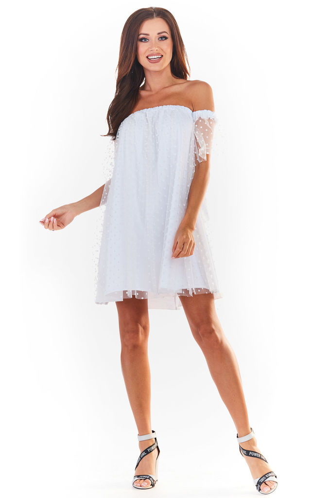 White Mini Off Shoulder Summer Dress by AWAMA