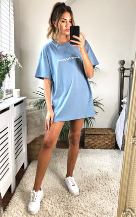 'Sweet but Psycho' Slogan T-shirt in Storm Blue by Twisted Saint