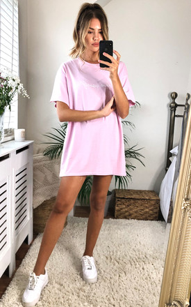 'Love Yaself' Oversized Slogan T-shirt in Baby Pink by Twisted Saint