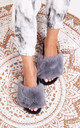 Kendall Grey Faux Fur Sliders by Linzi