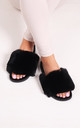 Kendall Black Faux Fur Sliders by Linzi