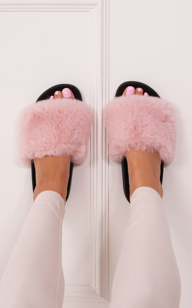 Kendall Pink Faux Fur Sliders by Linzi