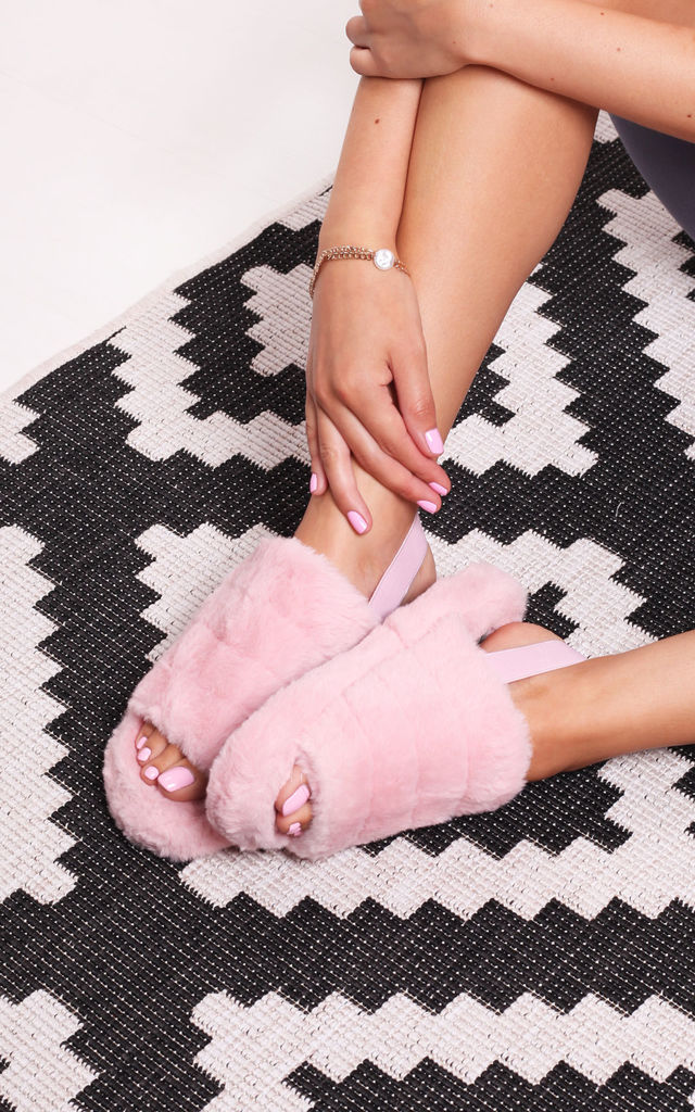 Comfy Pink Fluffy Slingback Slippers With Platform Sole by Linzi