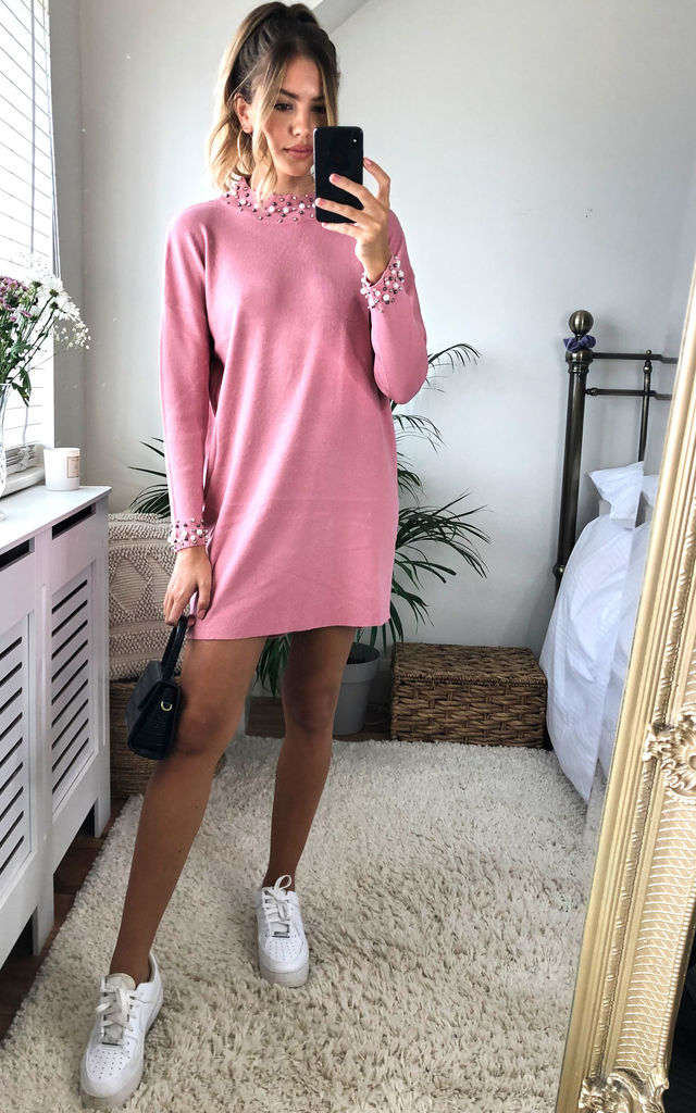 Beaded Ribbed Knit Jumper Dress In Pink by Gini London