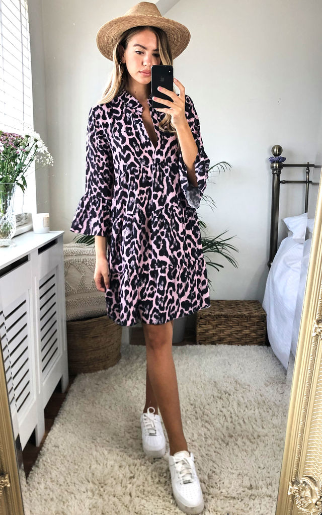 Pink Animal Print Smock Tiered Mini Dress by Gini London