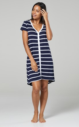 Women's Maternity Nursing Nightdress Printed Open Nightwear Navy with Stripes by Chelsea Clark