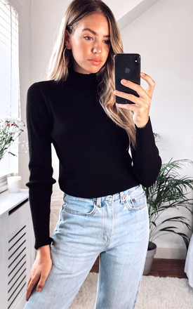 High Neck Knitted Top In Black by Pieces Product photo