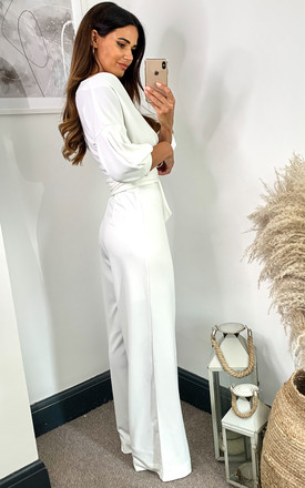 Audrey Hepburn Jumpsuit - Ivory Crepe Scuba by House Of Lily