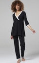 Women's Maternity Printed Pyjamas / Robe Black by Chelsea Clark