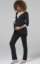 Women's Maternity Printed Pyjamas / Robe Black with Stars by Chelsea Clark